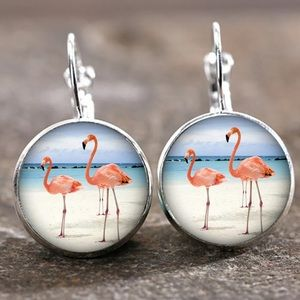 Flamingo Silver Trendy Glass Cabochon Earrings